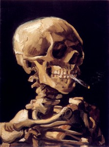 """Skull with a burning cigarette"