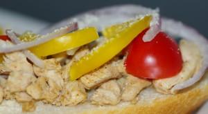 Spicy kyllingbaguette